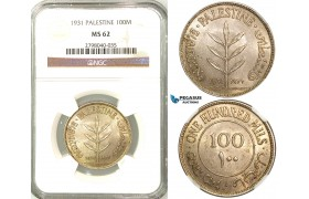 Z34, Palestine, 100 Mils 1931, Silver, NGC MS62, Extremely Rare Grade! (Pop 1/0, Finest!)