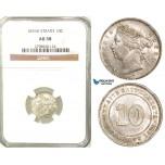 Z38, Straits Settlements, Victoria, 10 Cents 1876-H, Heaton, Silver, NGC AU58