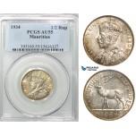 Z47, Mauritius, George V, 1/2 Rupee 1934, Silver, PCGS AU55