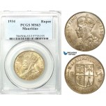 Z48, Mauritius, George V, 1 Rupee 1934, Silver, PCGS MS63