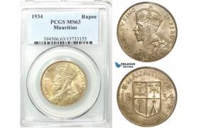 Z48, Mauritius, George V, 1 Rupee 1934, Silver, PCGS MS63
