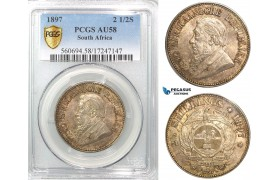 Z50, South Africa (ZAR) 2 1/2 Shillings 1897, Silver, PCGS AU58