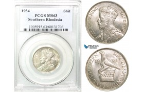 Z52, Southern Rhodesia (Zimbabwe) George V, 1 Shilling 1934, Silver, PCGS MS63, Rare!