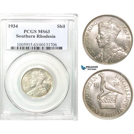 Z52, Southern Rhodesia (Zimbabwe) George V, 1 Shilling 1934, Silver, PCGS MS63, Rare!