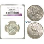 Z55, Southern Rhodesia (Zimbabwe) George V, 2 Shillings 1935, Silver, NGC AU Det.