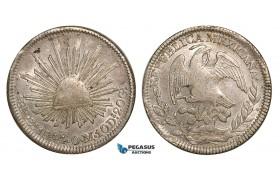 Z81, Mexico, First Republic, 8 Reales 1844 Zs OM, Zacatecas, Silver, aXF