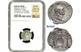 Z84, Roman Empire, Divus Vespasian (died AD 79). AR denarius (3.32 g) Rome, struck under Titus (80-81 AD) NGC Ch VF Fine Style