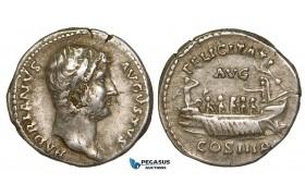 Z93, Roman Empire, Hadrian (117-138 AD) AR Denarius (3.35g) Rome (132-135 AD) Galley, Good VF