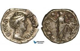 ZA01, Roman Empire, Diva Faustina Senior. (Died 140/1 AD) AR Denarius (2.99g) Rome (146-161 AD) Juno, VF