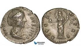 ZA02, Roman Empire, Diva Faustina Senior. (Died 140/1 AD) AR Denarius (3.14g) Rome (after 141 AD) Providentia, aEF