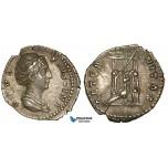 ZA03, Roman Empire, Diva Faustina Senior. (Died 140/1 AD) AR Denarius (2.99g) Rome (141-161 AD) Peacock, VF-EF