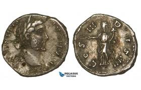 ZA04, Roman Empire, Antoninus Pius (138-161 AD) AR Denarius (3.20g) Rome (144 AD) Pax, VF