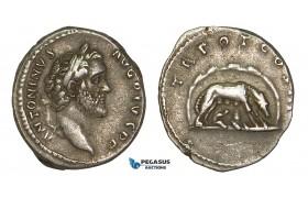 ZA05, Roman Empire, Antoninus Pius (138-161 AD) AR Denarius (3.39g) Rome (140 AD) Wolf, Good VF