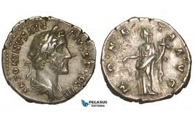 ZA06, Roman Empire, Antoninus Pius (138-161 AD) AR Denarius (2.99g) Rome (140-143 AD) Moneta, Good VF