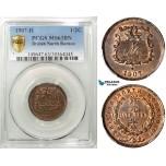 ZA11, British North Borneo, 1/2 Cent 1907-H, Heaton, PCGS MS63BN, Rare!