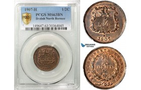 ZA11, British North Borneo, 1/2 Cent 1907-H, Heaton, PCGS MS63BN, Rare!