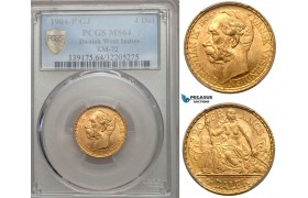 ZA13, Danish West Indies, Christian IX, 4 Daler/20 Francs 1904, Copenhagen, Gold, PCGS MS64