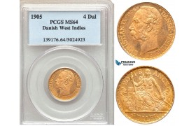 ZA14, Danish West Indies, Christian IX, 4 Daler/20 Francs 1905, Copenhagen, Gold, PCGS MS64