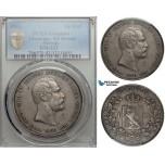 ZA20, Norway, Carl XV, 1 Speciedaler 1861, Kongsberg, Silver, PCGS XF, NM 1b, Rare!