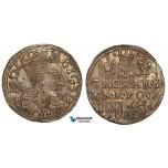 ZA21, Poland, Sigismund III, 3 Groschen (Trojak) 1597-I/F, Lublin, Silver (2.34g) Iger L.97.24 (R4) Toned XF-UNC Det. Rare!