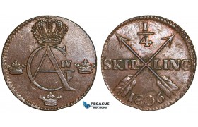 ZA25, Sweden, Gustav IV Adolf, 1/4 Skilling 1806, Avesta, Copper, SM-, Much luster, XF