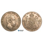 ZA26, Sweden, Carl XV, 4 Riksdaler Riksmynt 1869 S-T, Stockholm, Silver, SM 22, Much Luster, XF
