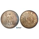 ZA28, Switzerland, Basel Festival 5 Francs 1879 (Shooting Taler) Silver, Part Rainbow Toning UNC