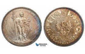 ZA28, Switzerland, Basel Festival 5 Francs 1879 (Shooting Taler) Silver, Part Rainbow Toning UNC