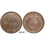 ZA29, United States, Shield 2 Cents 1865, Brown AU+
