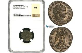 ZA36, Roman Empire, Divus Claudius II Gothicus (Died 270 AD) BL Antoninianus (Double Denarius) (2.84g) Mediolanum (Milan) Victory, NGC MS