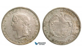 ZA43, Colombia, 5 Decimos 1882, Silver, Medellin, Nice!