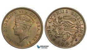 ZA44, Cyprus, George VI, Shilling 1947, Toned High Grade!