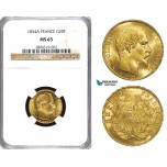 ZA46, France, Napoleon III, 20 Francs 1854-A, Paris, Gold, NGC MS65 (Pop 1/2, only 1 finer!)