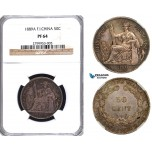 ZA48, French Indo-China, 50 Centimes 1889-A, Paris, Silver, NGC PF64, Very Rare!