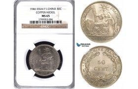 ZA49, French Indo-China, 50 Centimes 1946 ESSAI, Coppe-Nickel, NGC MS65