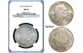 ZA56, Austria, Franz Joseph, 5 Corona 1900, Vienna, Silver, NGC MS64