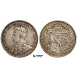 ZA59, Cyprus, George V, 18 Piastres 1921, Silver, F-VF