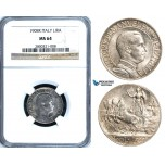 ZA61, Italy, Vit. Emanuele III, 1 Lira 1908-R, Rome, Silver, NGC MS64