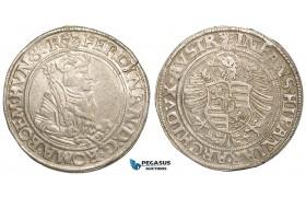 ZA64, Austria (Bohemia) Ferdinand I, Taler ND, Joachimstal (Jáchymov-Puellacher) Silver (28.83g) Hal. 108, aXF with Lustre