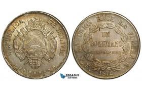 ZA65, Bolivia, 1 Boliviano 1872-PTS, Potosi, Silver, Toned UNC