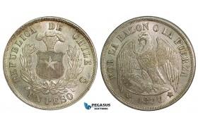 ZA67, Chile, 1 Peso 1877-So, Santiago, Silver, AU-UNC with lustre!
