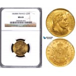 ZA69, France, Napoleon III, 20 Francs 1868-BB, Strasbourg, Gold, NGC MS65