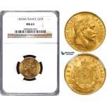 ZA70, France, Napoleon III, 20 Francs 1869-BB, Strasbourg, Gold, NGC MS63