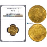 ZA74, Hungary, Franz Joseph, 8 Forint/20 Francs 1878-KB, Kremnitz, Gold, NGC MS63, Pop 1/0, Finest!