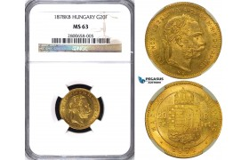 ZA74, Hungary, Franz Joseph, 8 Forint/20 Francs 1878-KB, Kremnitz, Gold, NGC MS63, Pop 1/0, Finest!