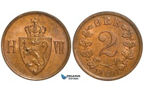 ZA78, Norway, Håkon VII, 2 Øre 1907, Kongsberg, XF-UNC