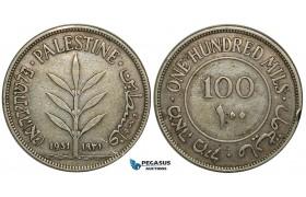 ZA79, Palestine, 100 Mils 1931, Silver, F-VF, Edge Knick, Rare date!