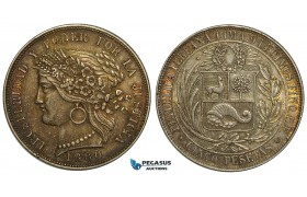 ZA80, Peru, 5 Pesetas 1880-B BF, Lima, Silver, aUNC with Rainbow toning!