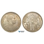 ZA89, Thailand, Rama VI, Baht BE2460 (1917) Silver, Lustrous aUNC