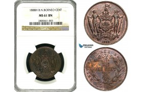 ZA98, British North Borneo, 1 Cent 1888-H, Heaton, NGC MS61BN